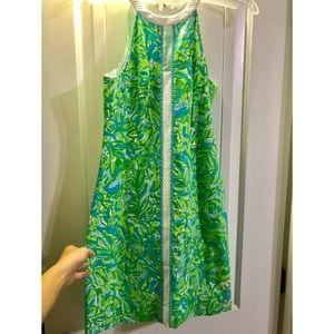 EUC Lilly Pulitzer Green Parrot Pearl Shift Dress
